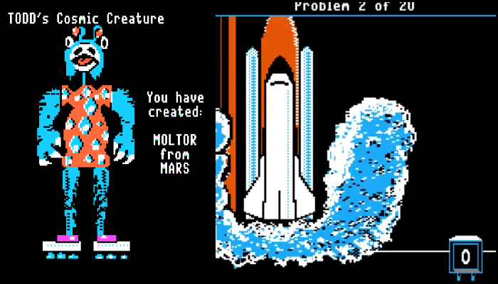 The 'Cosmic Creature' game lets players build their own alien species (of equal beauty, I'm sure), which subsequently proceed to 'blast off,' as the kids say, using slow-moving rocket boots, soaring into space at a rate of one pixel per second.