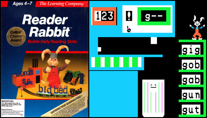 Reader Rabbit featured gorgeous graphics, particularly among its 1986 contemporaries. Note the cerulean blue, a shade of the color wheel that nearly broke earlier Apple II models.